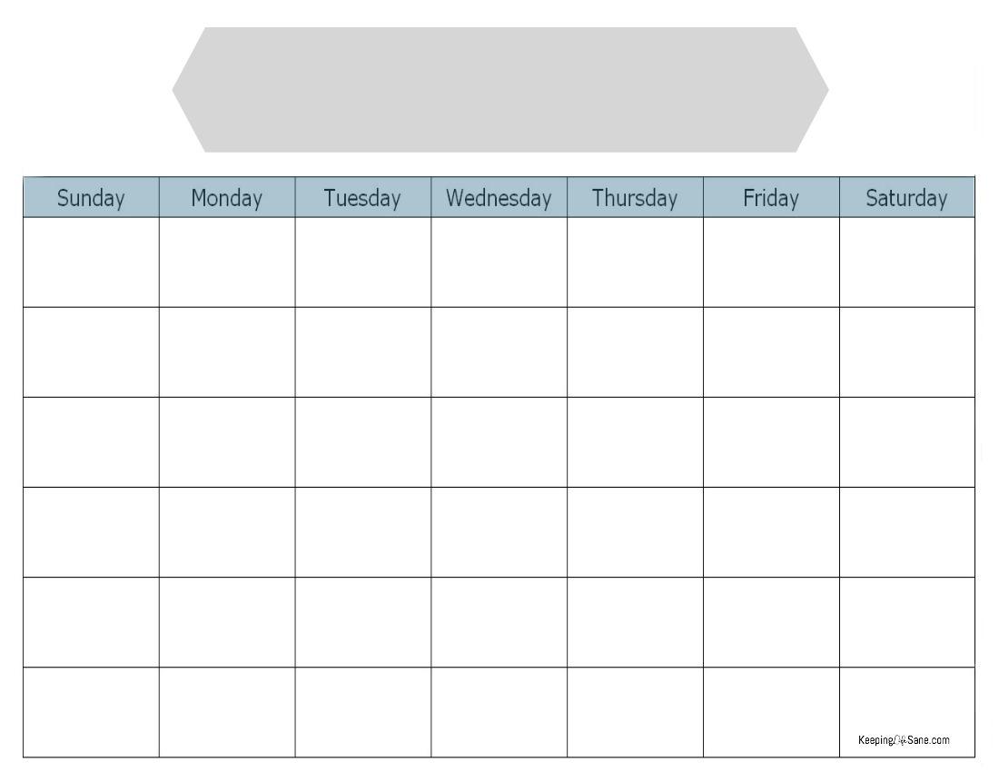 Blank Calendar To Print For Free  Keeping Life Sane pertaining to Blank Sunday Through Saturday Calendar
