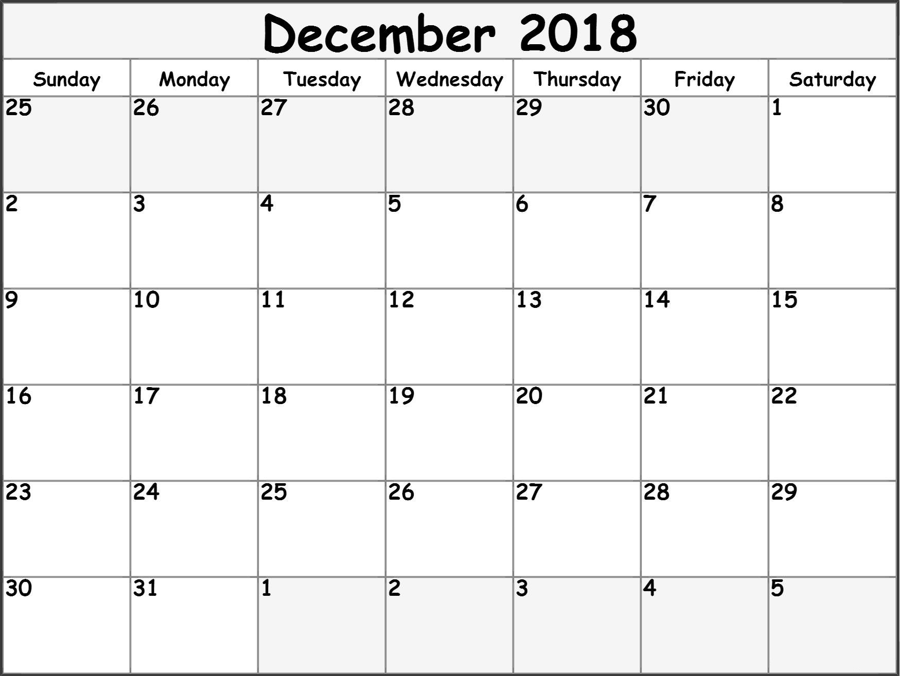 Blank December 2018 Editable Calendar – Printable 2019 in Blank Fillable Calendar