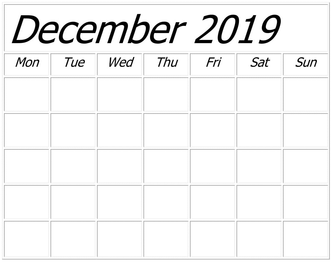 Blank December 2019 Calendar Monthly Template  Latest with regard to Blank One Month Calendar