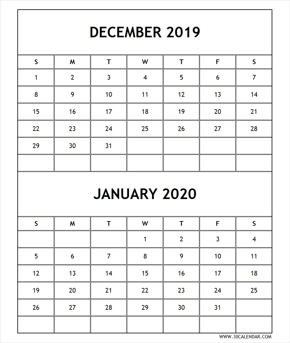 Blank December 2019 January 2020 Calendar | 2 Month Calendar within Blank 2 Month Calendar