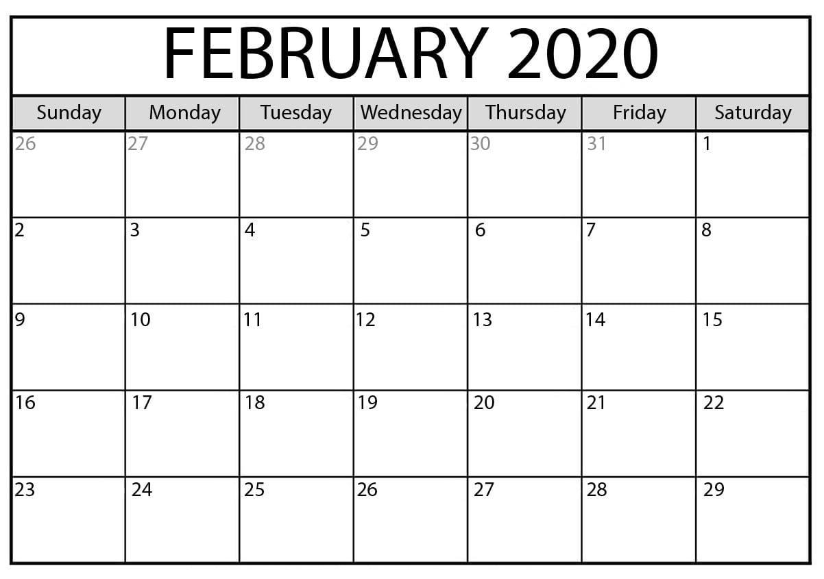 Blank February 2020 Calendar Free Printable  2019 Calendars within Feb 2020 Calendar