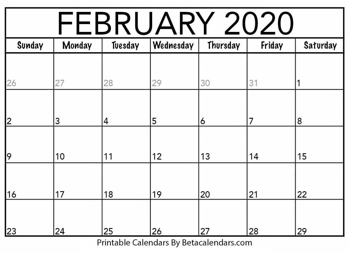 Blank February 2020 Calendar Printable – Beta Calendars regarding December 2020 Calendar Beta Calendars