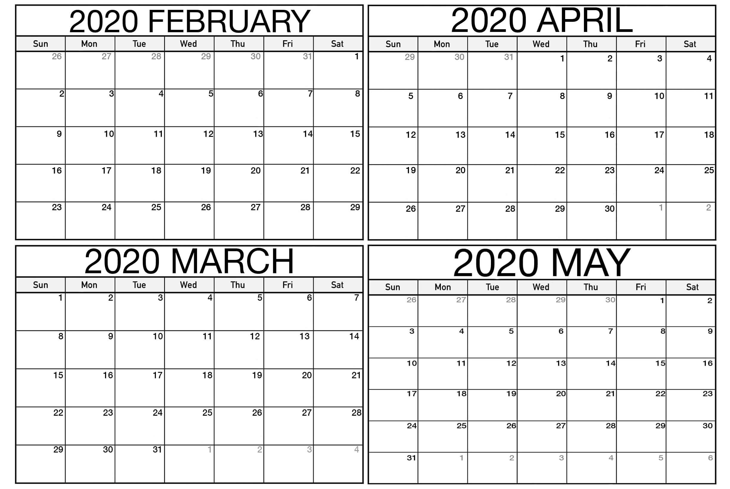 Blank February March Calendar 2020 Pdf  2019 Calendars For throughout 2020 Calendar February And March