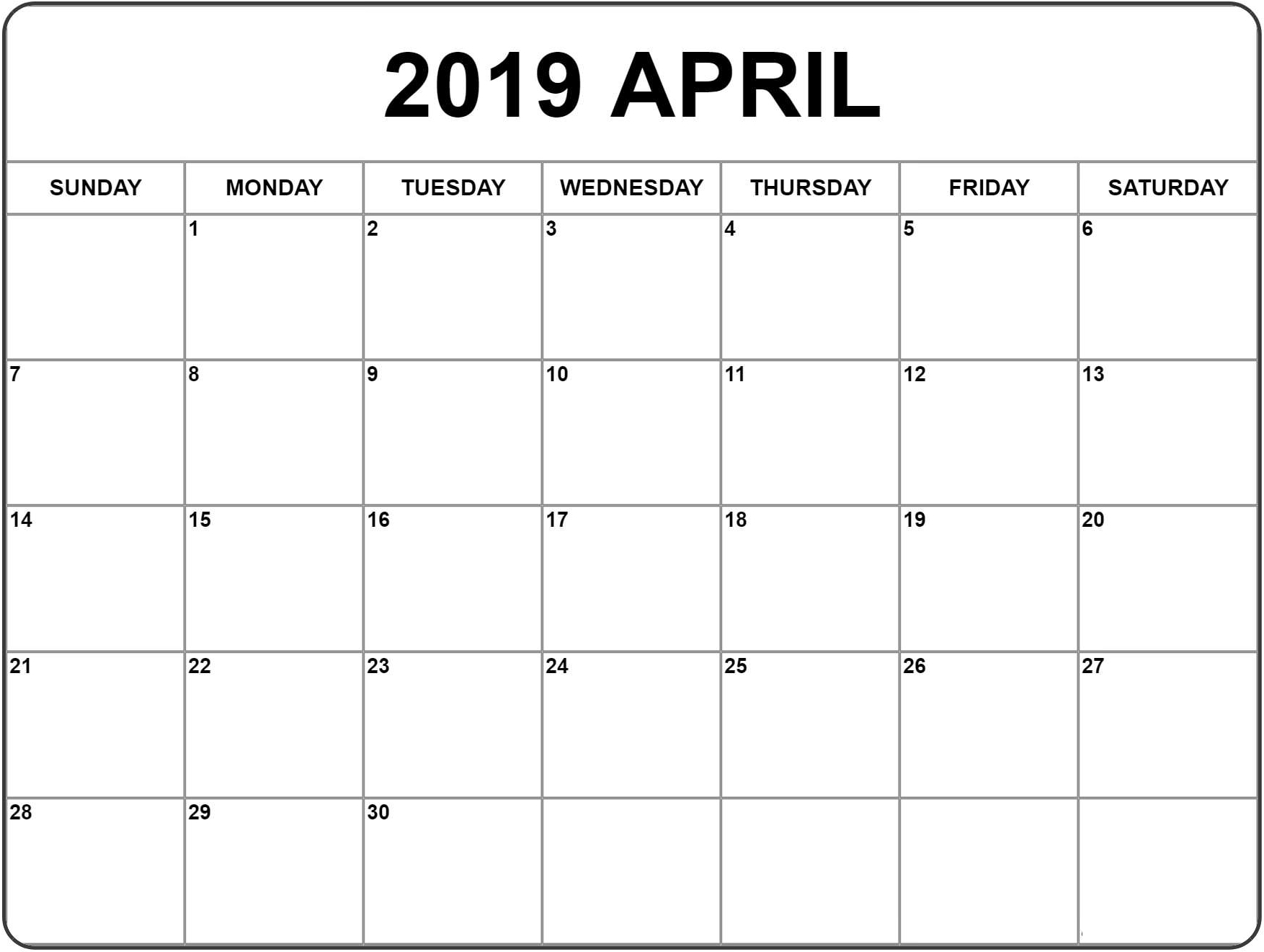 Blank Fillable April 2019 Calendar | Blank Calendar Pages regarding Blank Fillable Calendar