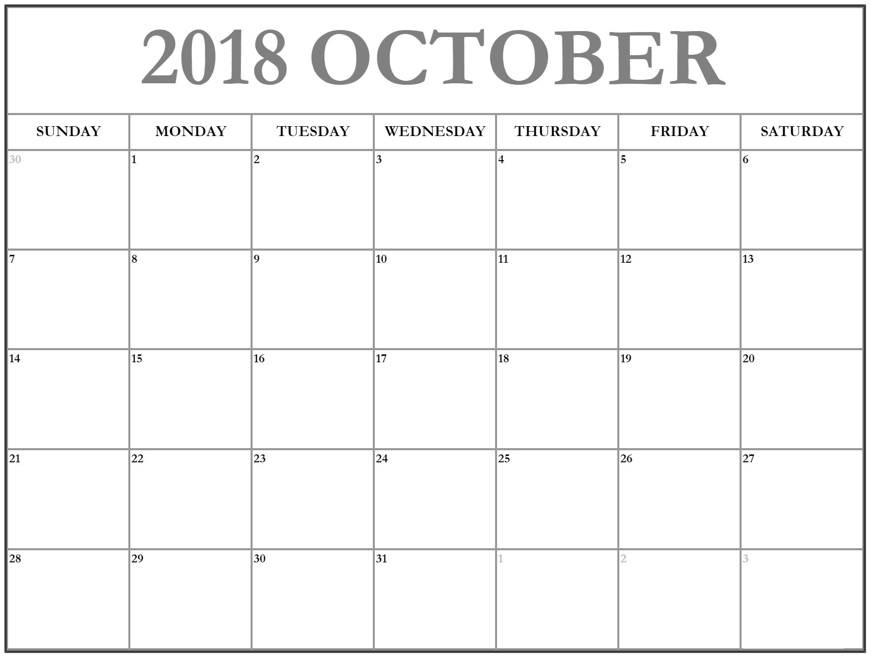 Blank Fillable October 2018 Calendar – Printable 2019 throughout Blank Fillable Calendar