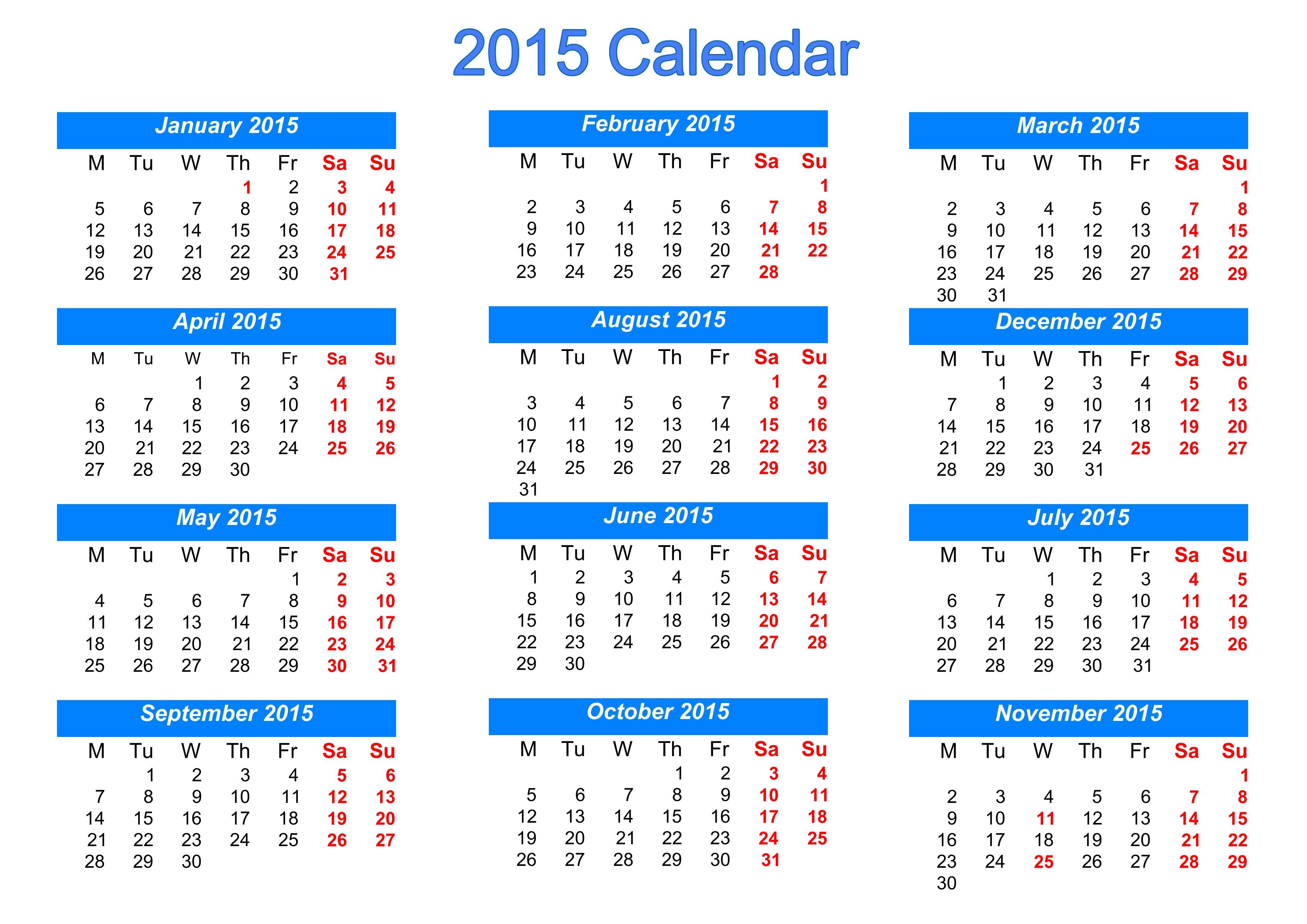 Blank Horizontal Calendar Template | Free Calendar Download inside December 2015 Calendar Printable