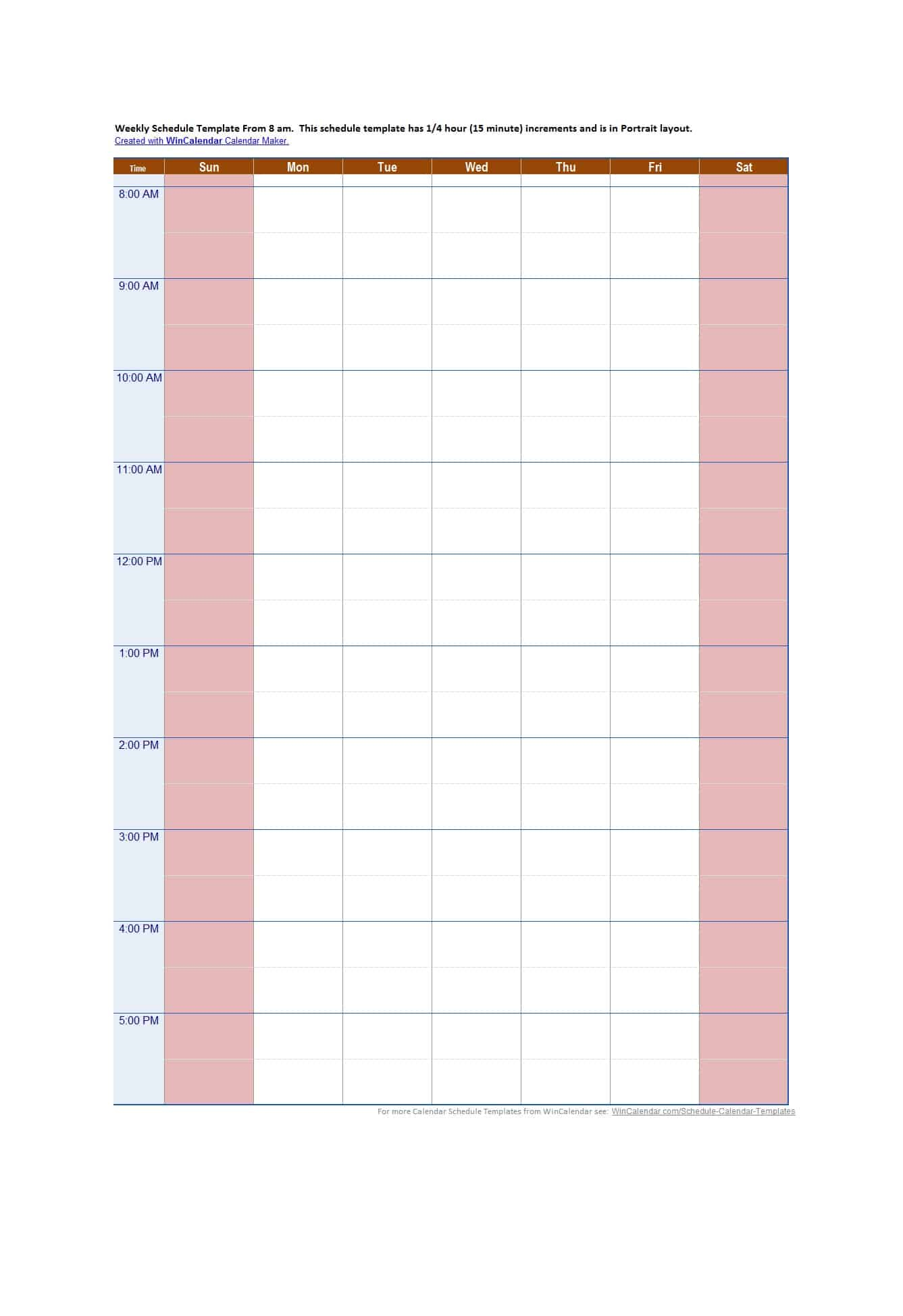 Blank Hourly Calendar  Bolan.horizonconsulting.co throughout Free Printable Hourly Planner