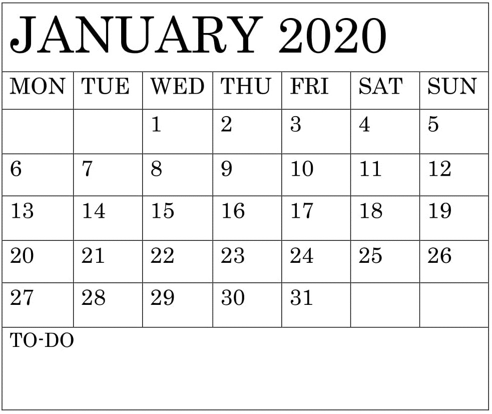 Blank January 2020 Calendar Monthly Template – Free Latest throughout Blank 31 Day Calendar