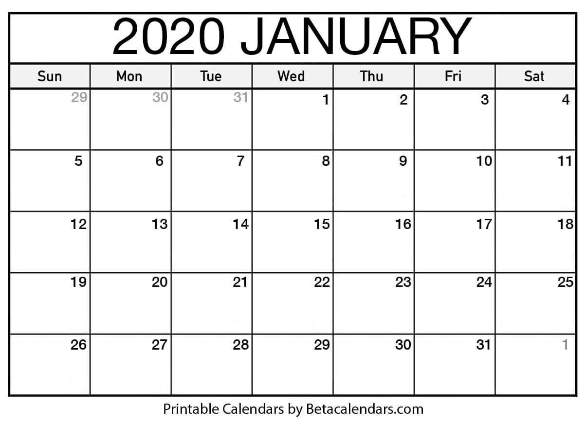 Blank January 2020 Calendar Printable for Show Calendar For January 2020