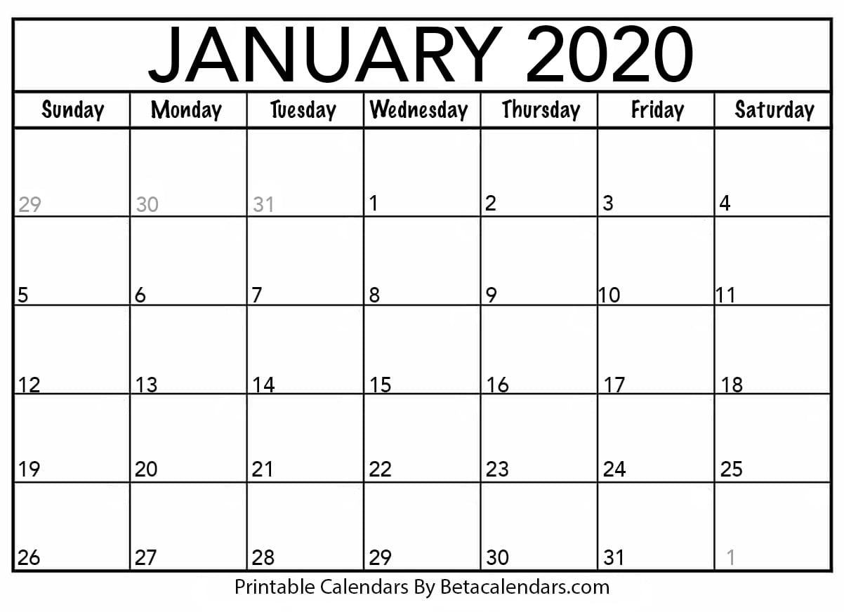 Blank January 2020 Calendar Printable in Show Calendar For January 2020