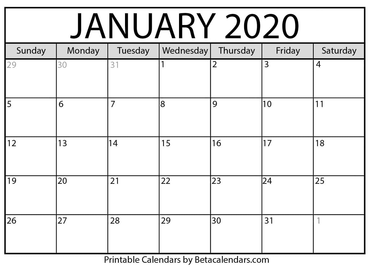 Blank January 2020 Calendar Printable inside Show Calendar For January 2020
