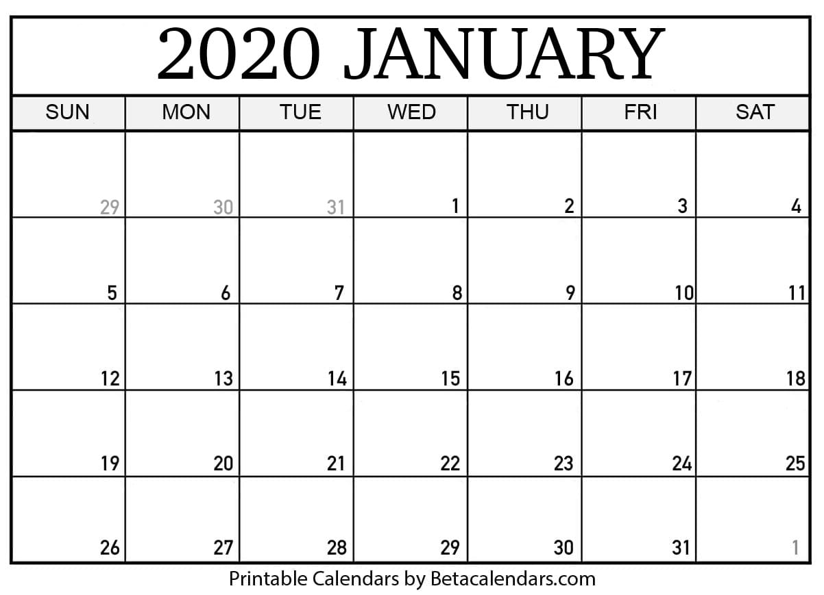 Blank January 2020 Calendar Printable intended for Show Calendar For January 2020