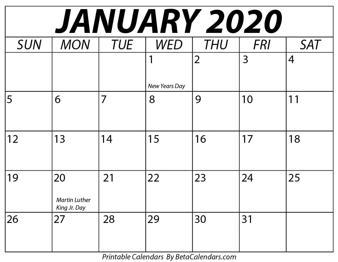 Blank January 2020 Calendar Printable with regard to Jan 2020 Holiday