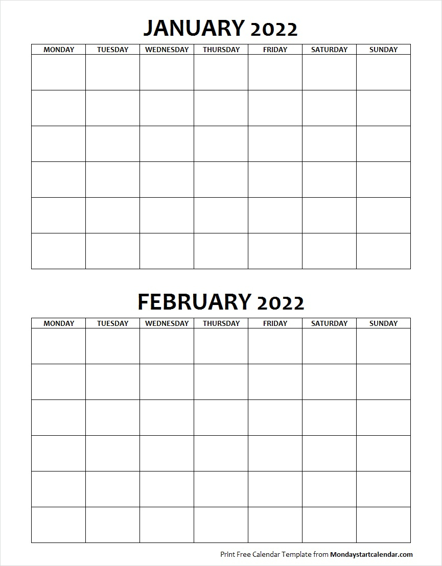 Blank January February 2022 Calendar Monday Start within Monday Through Sunday Calendar