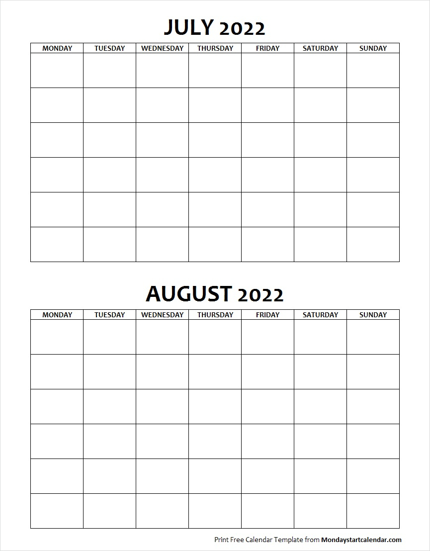 Blank July August 2022 Calendar Monday Start Template intended for Blank Calendar Starting With Monday
