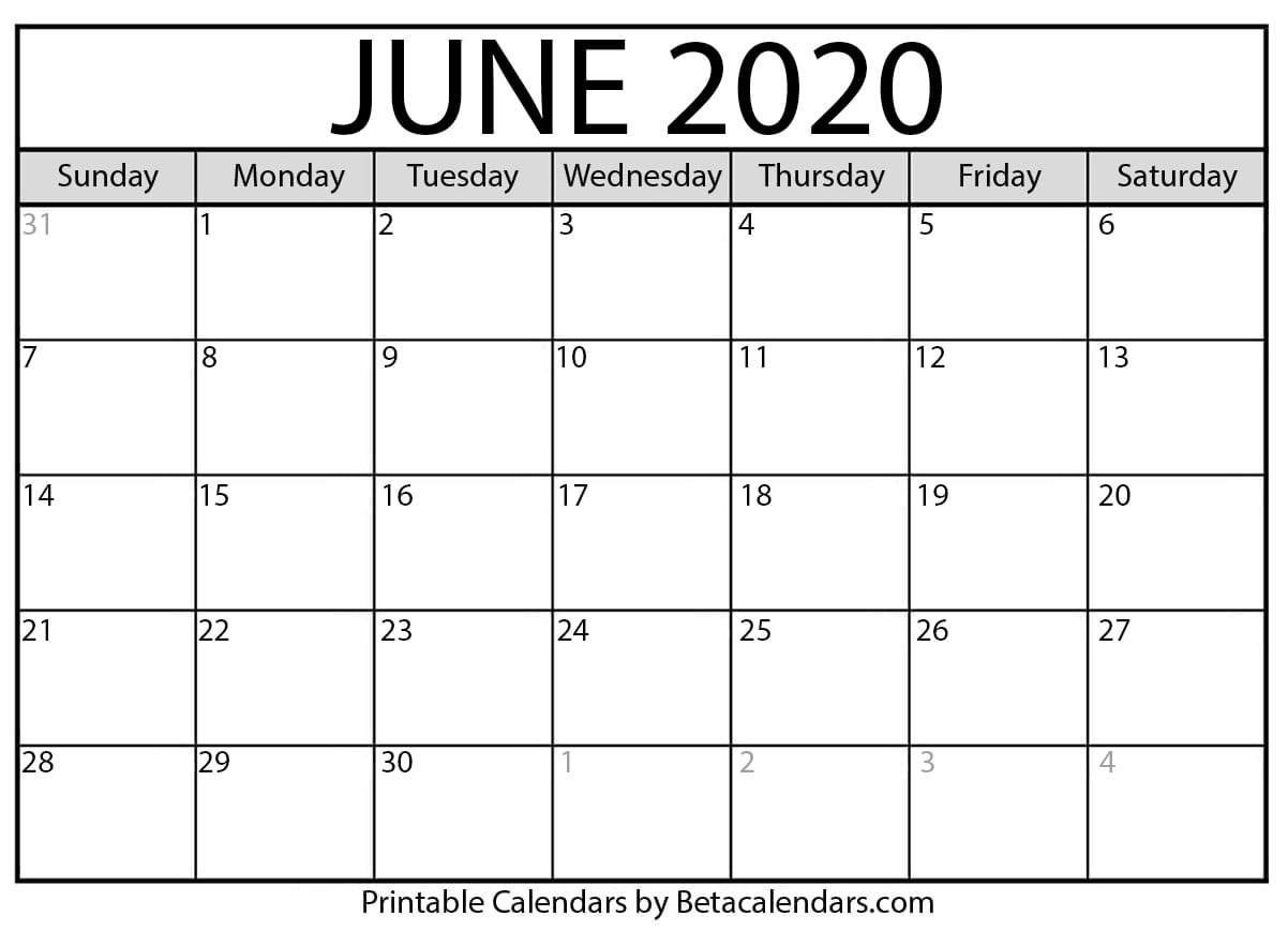 Blank June 2020 Calendar Printable – Beta Calendars throughout December 2020 Calendar Beta Calendars