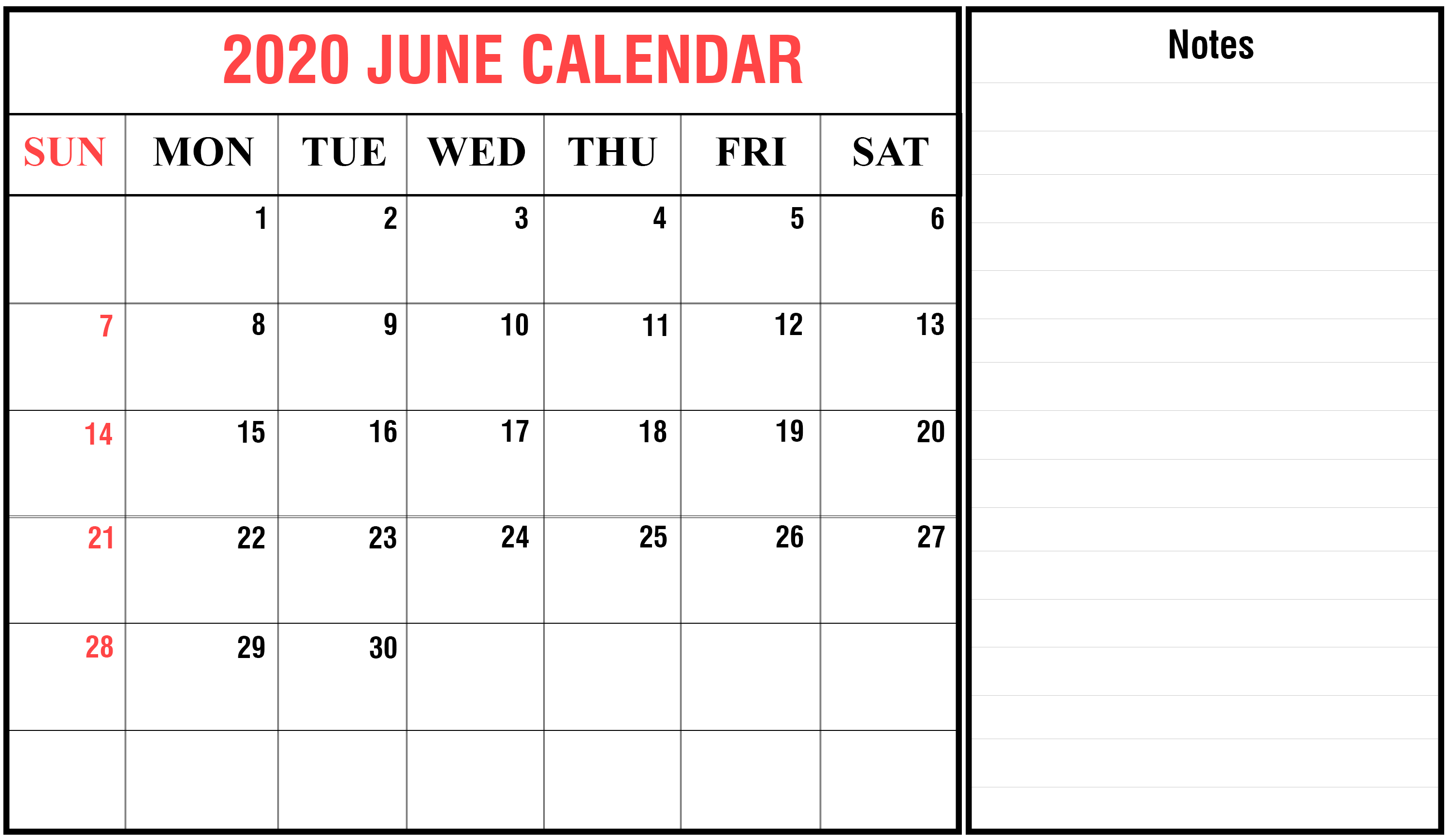 Blank June 2020 Calendar Template | Monthly Calendar intended for 2020 Calendar Hk Excel