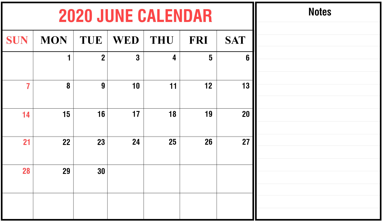 Blank June 2020 Calendar Template | Monthly Calendar intended for 2020 Calendar Hk Excel