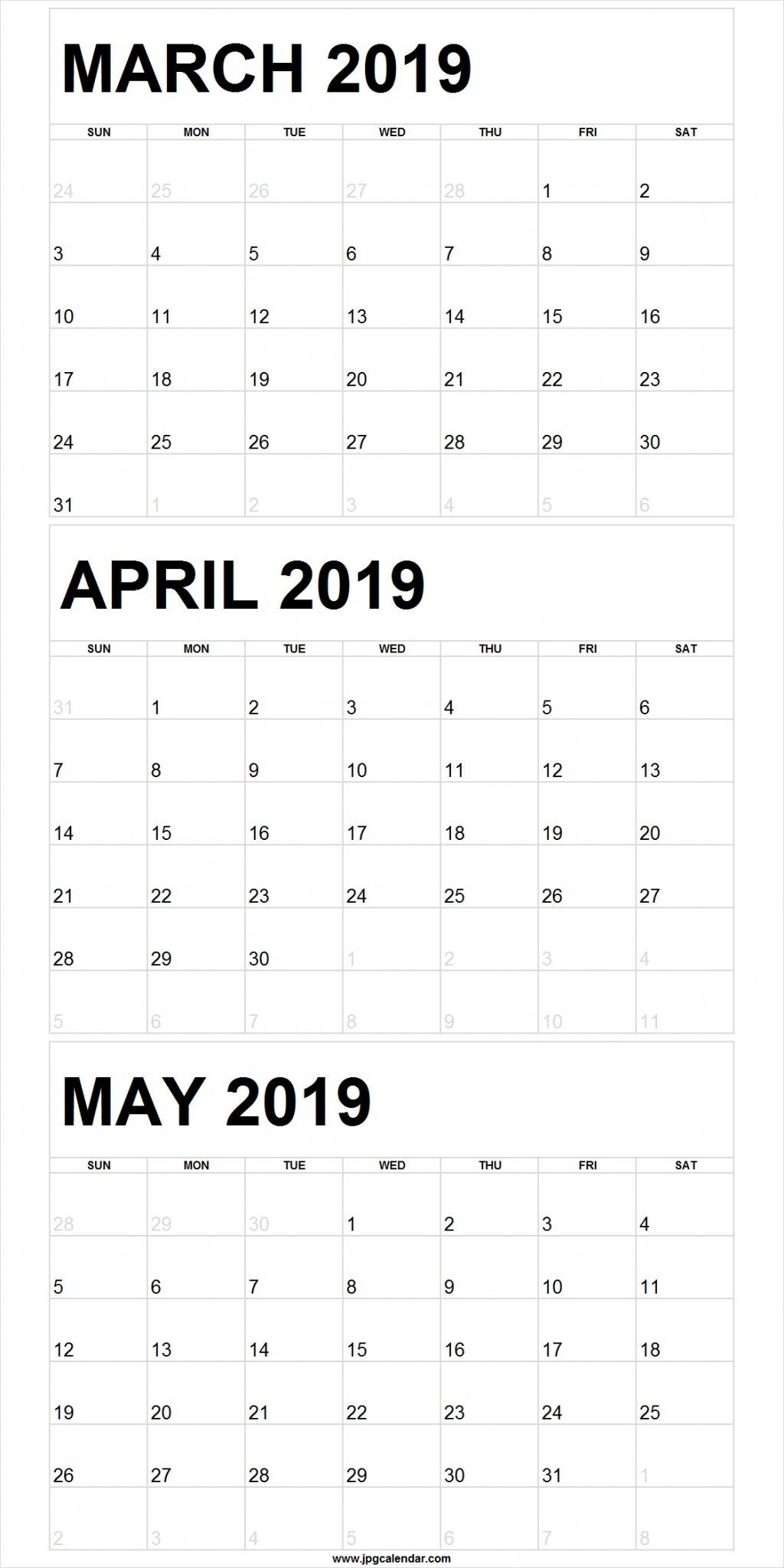 Blank March To May 2019 Calendar Printable | 3 Month in 3 Month Calendar Print