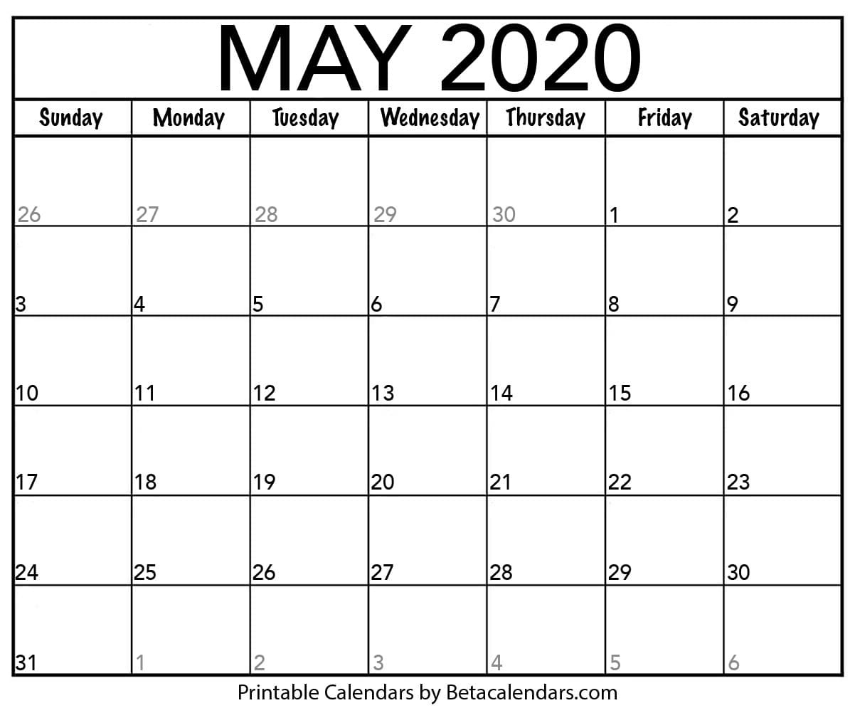 Blank May 2020 Calendar Printable – Beta Calendars with December 2020 Calendar Beta Calendars