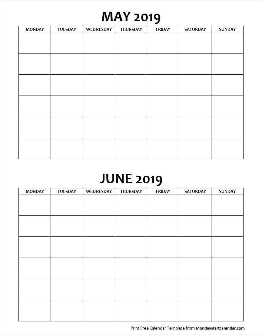 Blank May June 2019 Calendar Monday Start | Two Months Template inside Blank Calendar Starting With Monday