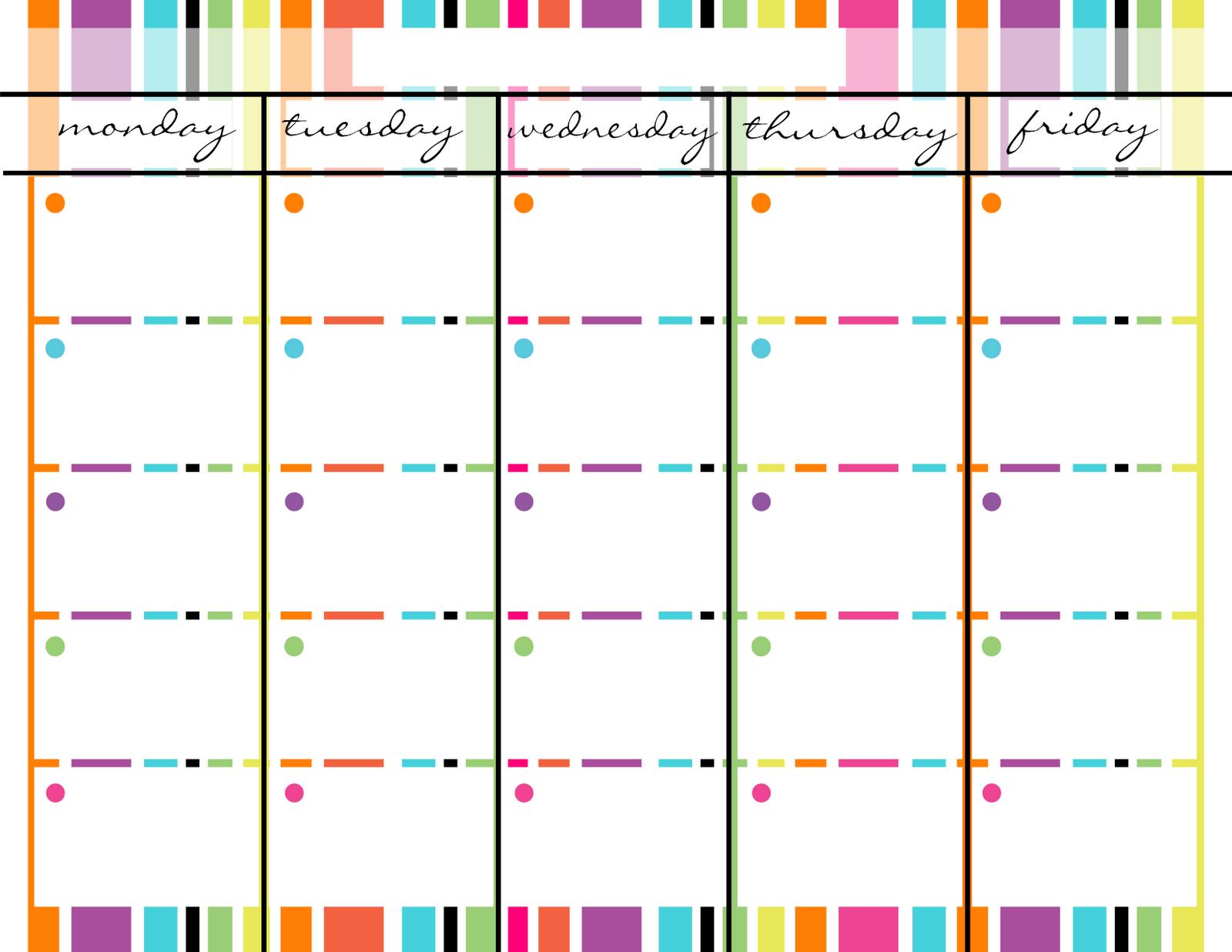 Blank Monday Through Friday Printable Calendar   Blank for Blank Calendar Template Monday Through Friday