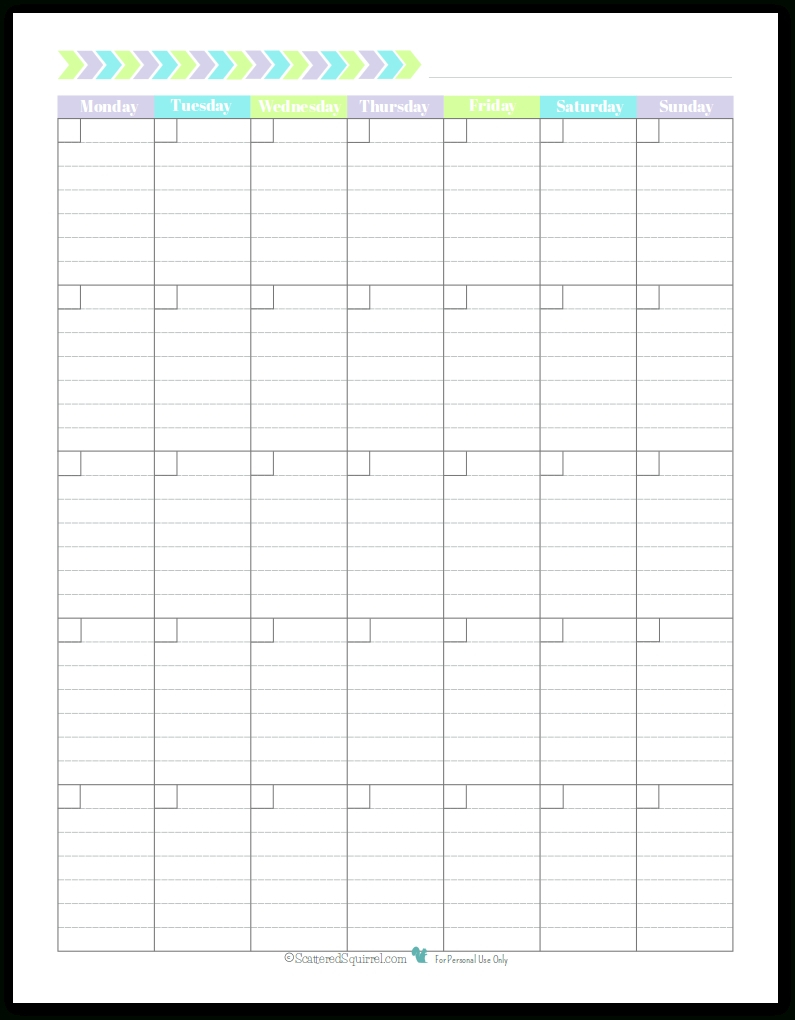 Blank Monthly Calendar Monday Start | Example Calendar Printable intended for Scattered Squirrel 2020 Calendar