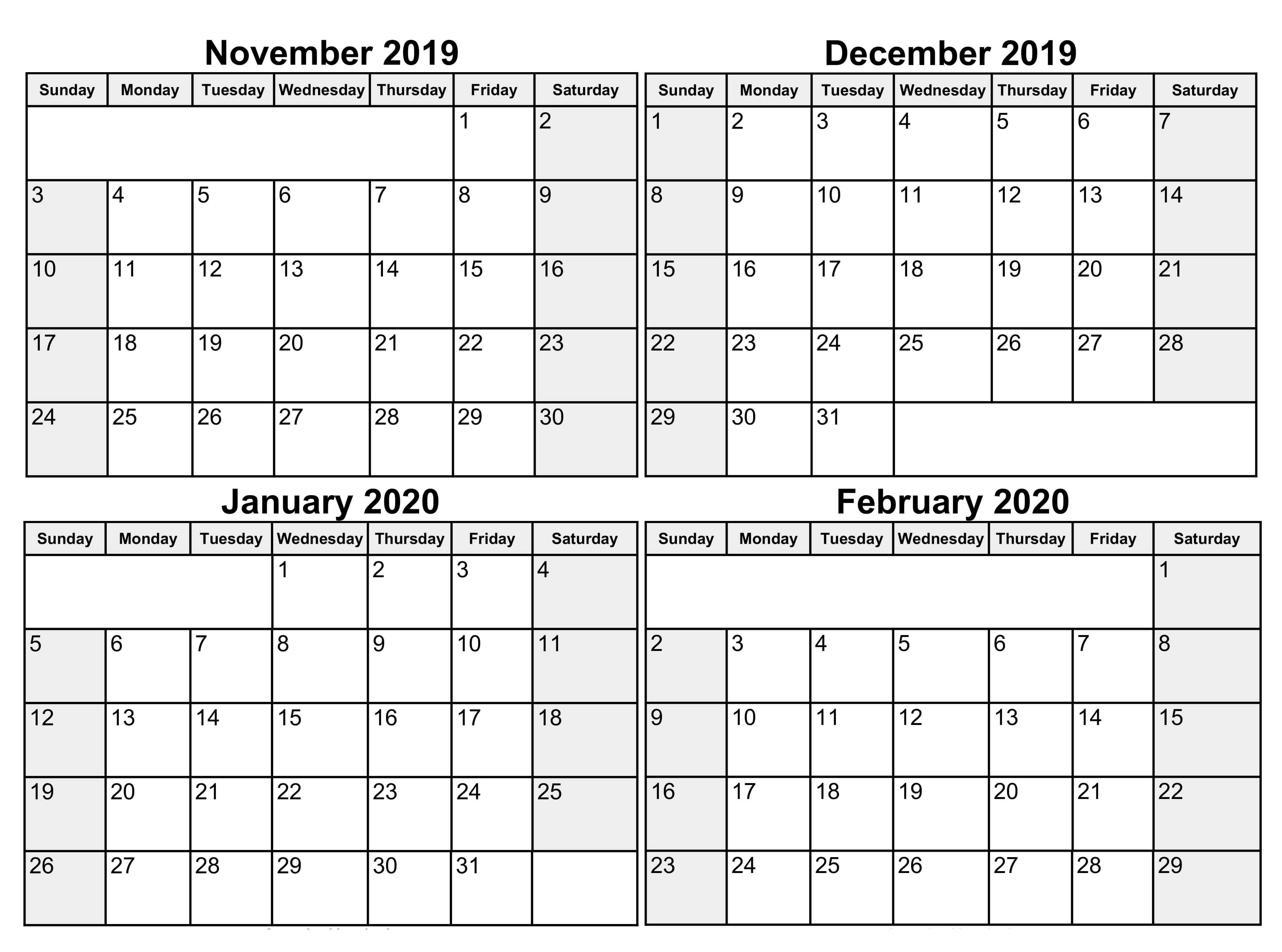 Blank November 2019 To February 2020 Calendar  2019 in November December January Calendar