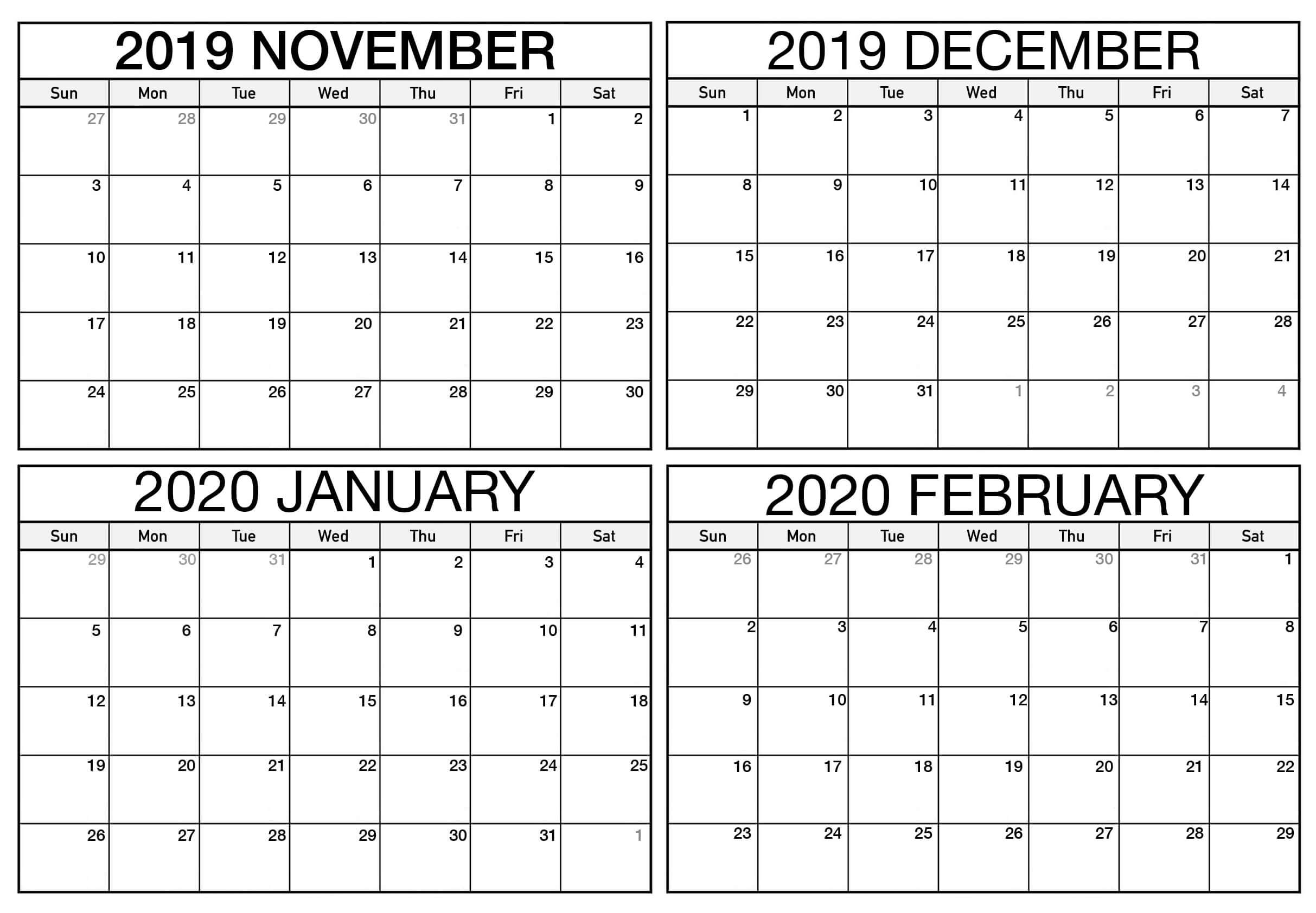 Blank November 2019 To February 2020 Calendar  2019 within 4 Month Calendar Template
