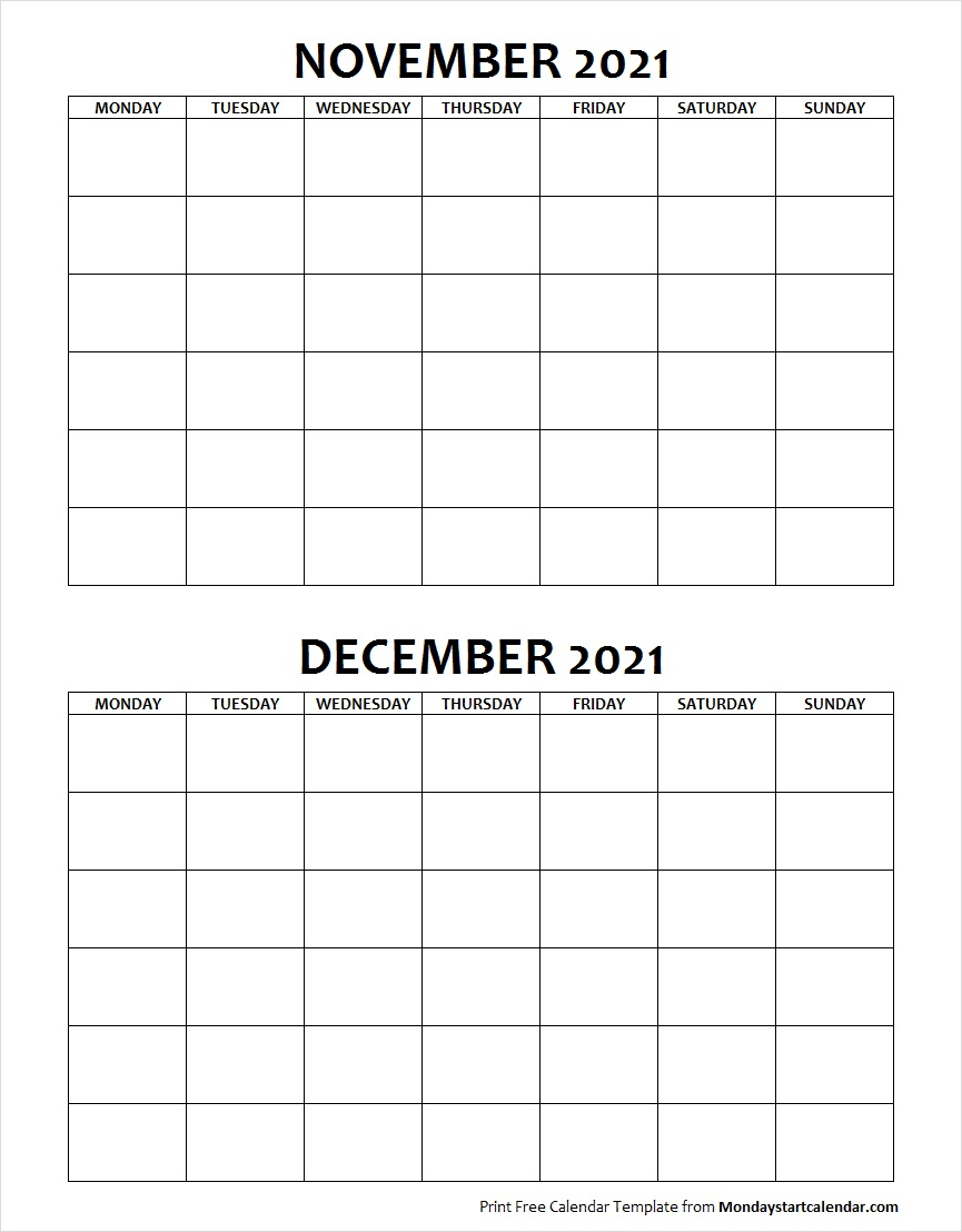 Blank November December 2021 Calendar Monday Start with regard to Monday Through Sunday Calendar