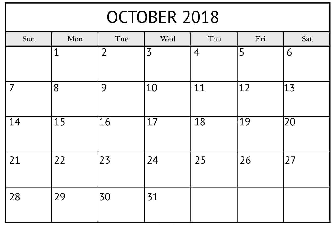 Blank October 2018 Pocket Calendar | October Calendar in Printable Pocket Calendar