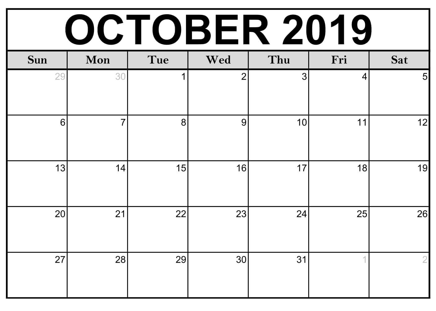 Blank October 2019 Calendar Printable Template  Latest pertaining to Blank 31 Day Calendar