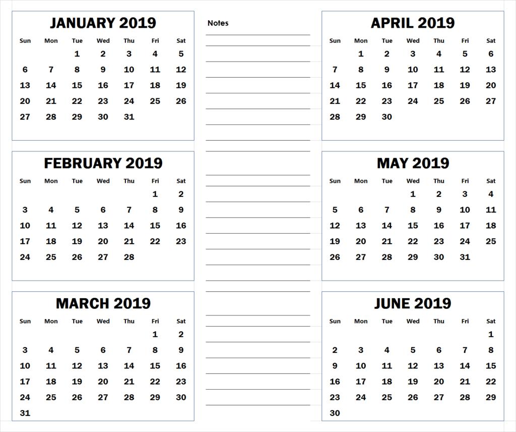 Blank Six Month 2019 Printable Calendar | 2019 Calendar for Six Month Calendar Template