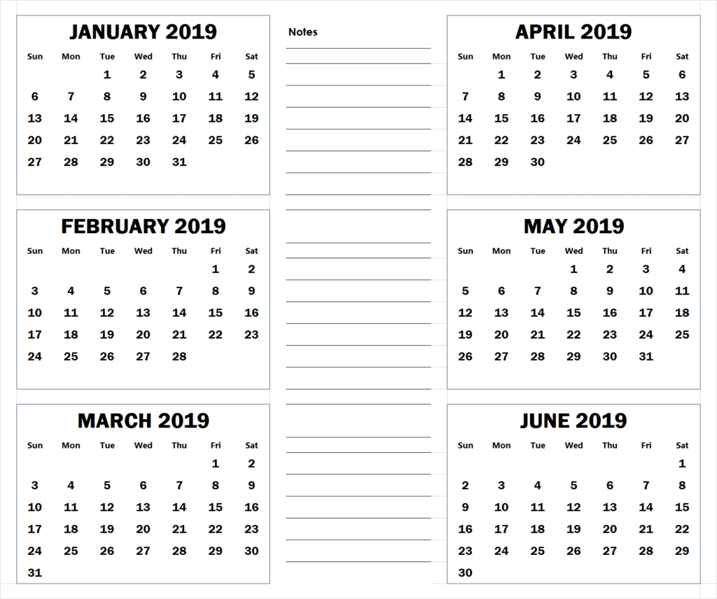 Blank Six Month 2019 Printable Calendar | 2019 Calendar intended for 6 Month Calendar Printable