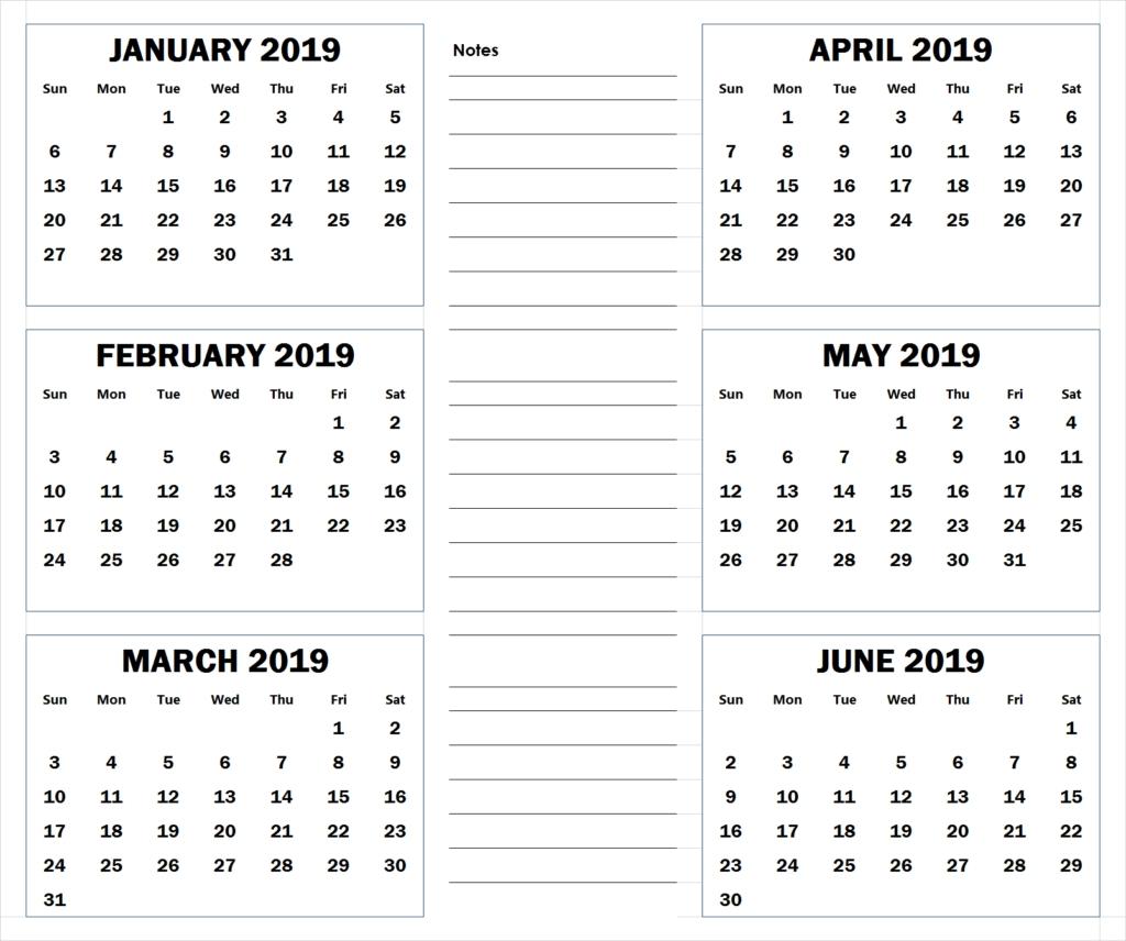 Blank Six Month 2019 Printable Calendar | 2019 Calendar throughout Printable 6 Month Calendar