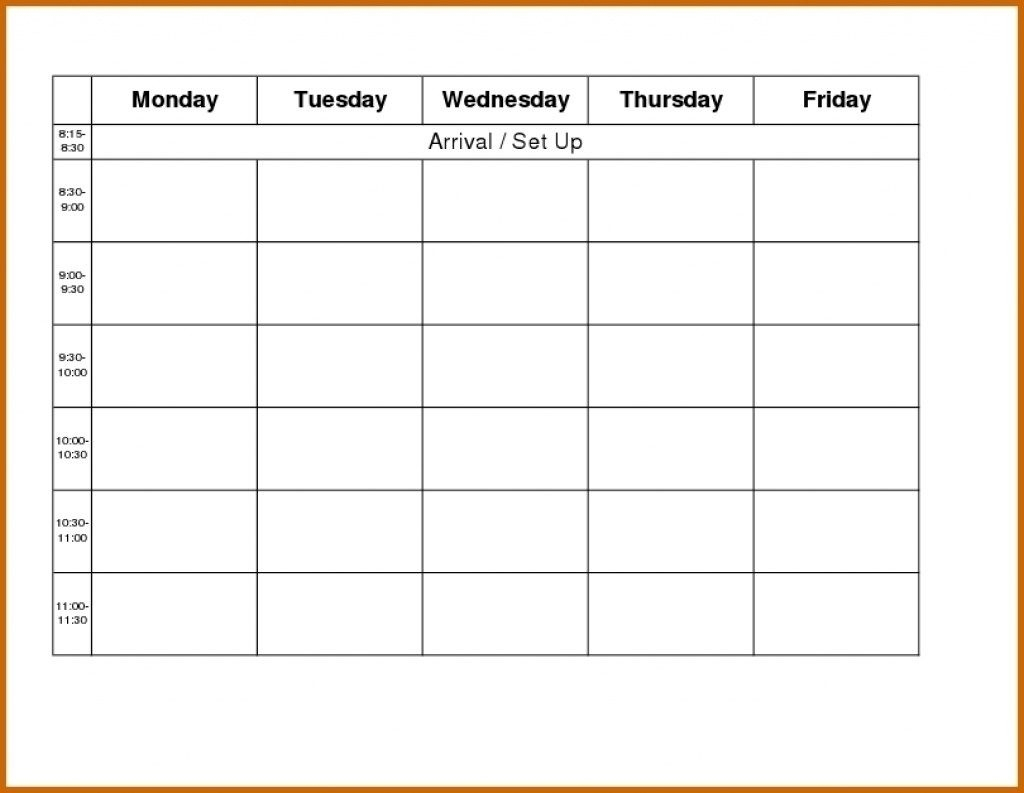 Blank Weekly Ampm Schedule Template | Example Calendar inside Monday Through Sunday Calendar Template