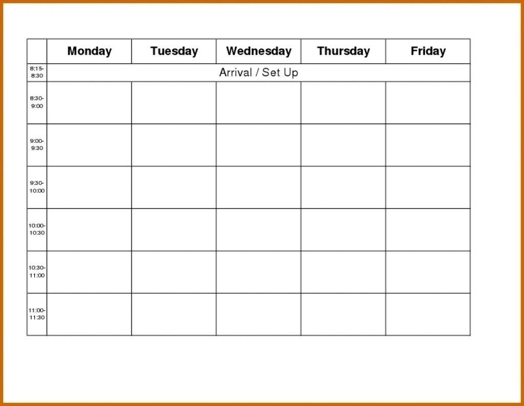 Blank Weekly Ampm Schedule Template | Example Calendar inside Monday Through Sunday Calendar Template