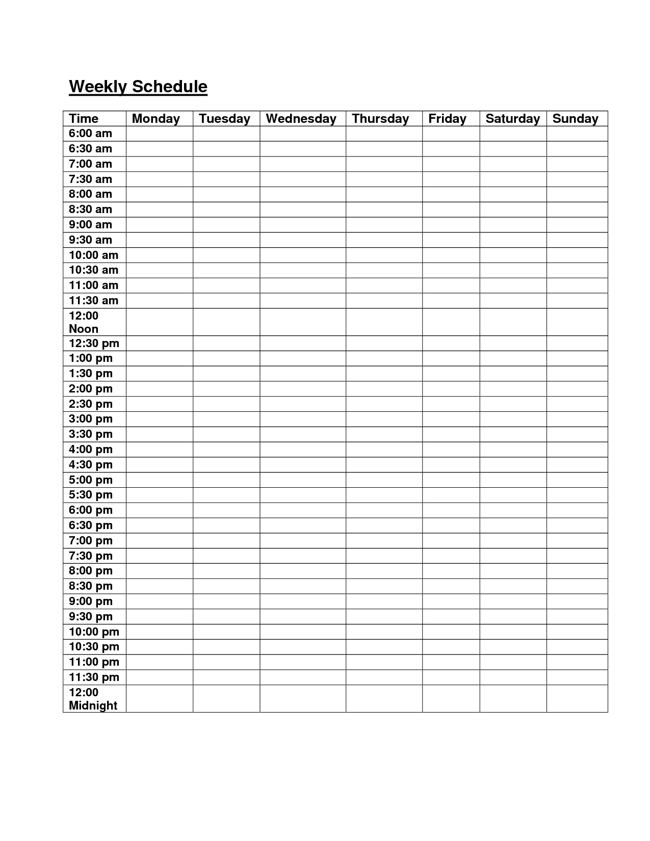 Blank Weekly Calendar Monday Through Friday | Daily Schedule intended for Daily Calendar Template 30 Minute Increments