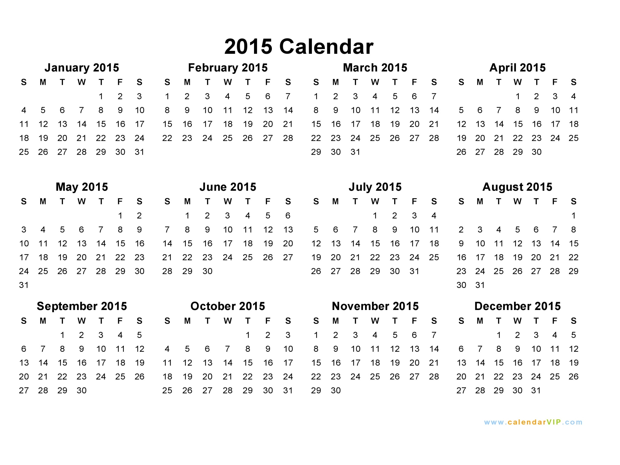 Blank Yearly Calendar 2015 | Templates Free Printable pertaining to Printable Monthly Calendar 2015