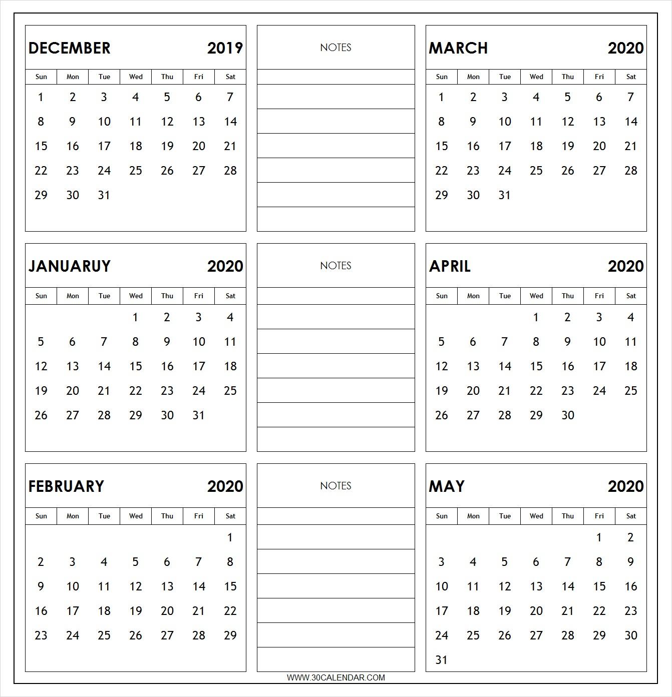 Blankdecembertomaycalendar2020Toprint  30 Day Calendar for 30 Day Calendar Blank