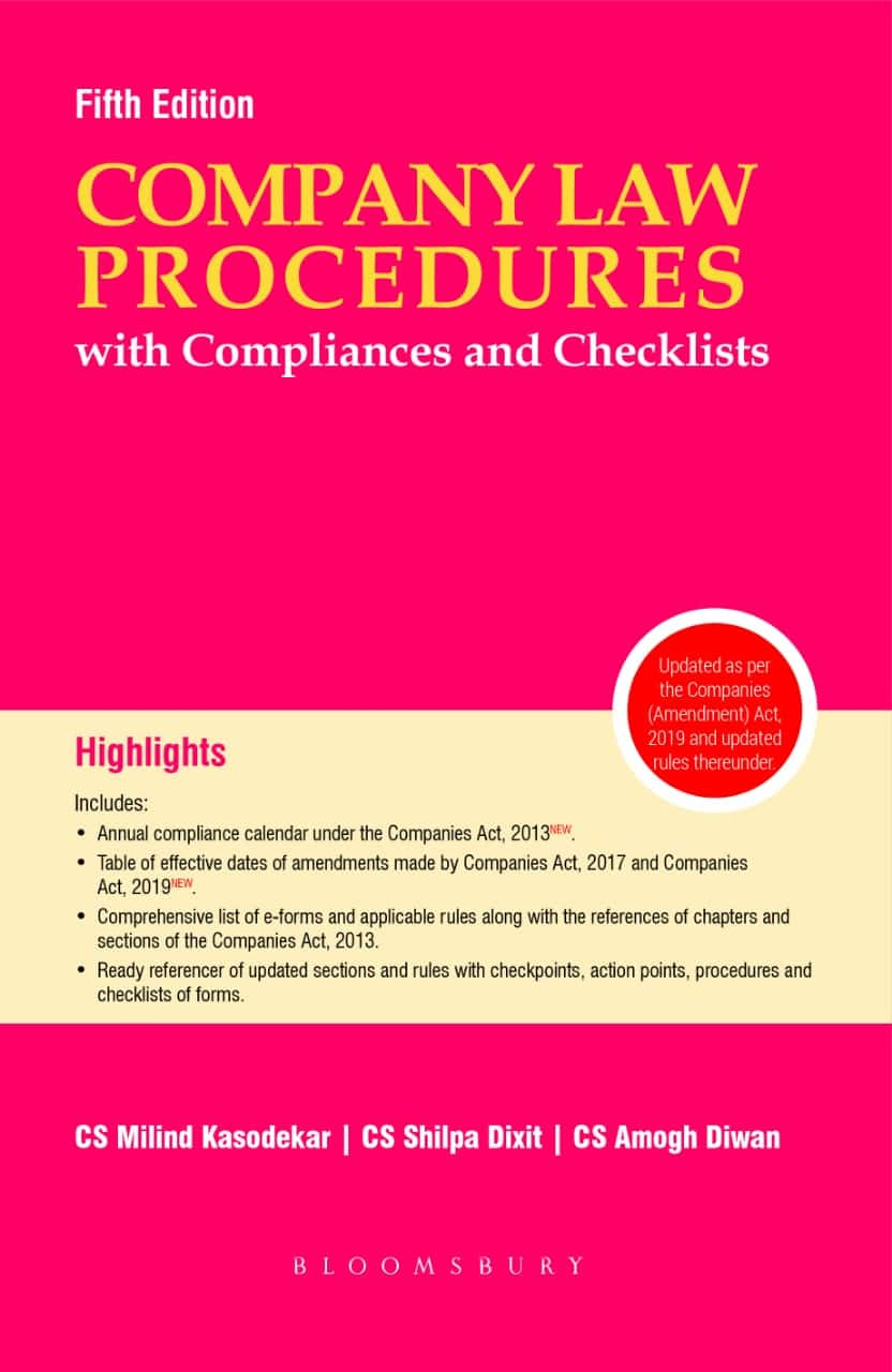 Bloomsbury'S Companies Law Procedure With Compliances And Checklists By Cs  Milind Kasodekar, Cs Shilpa Dixit And Cs Amogh Diwan, 5E, November, 2019 within Compliance Calendar Under Companies Act 2013