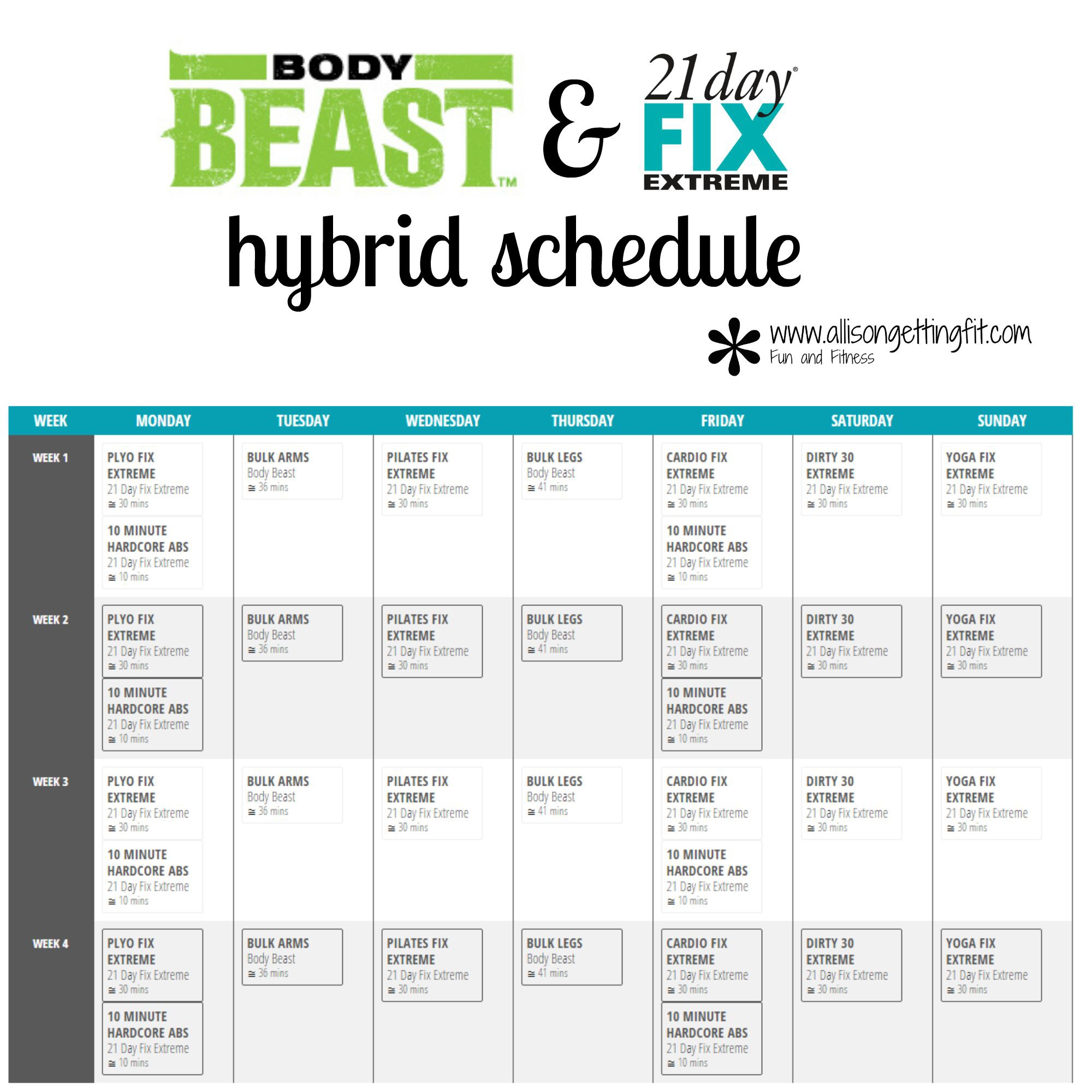 Body Beast | Allison Getting Fit pertaining to Body Beast Hybrid Calendar