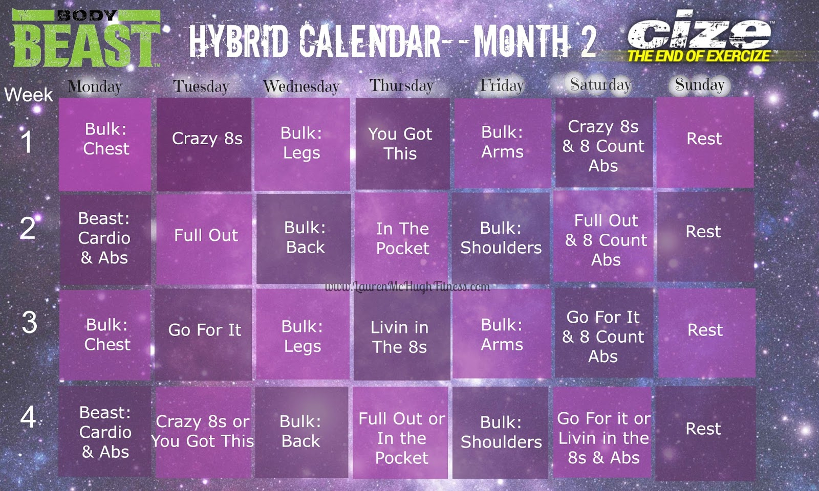 Body Beast And Cize Month 2 Hybrid :) | Lauren Mchugh throughout Insanity Max 30 Hybrid