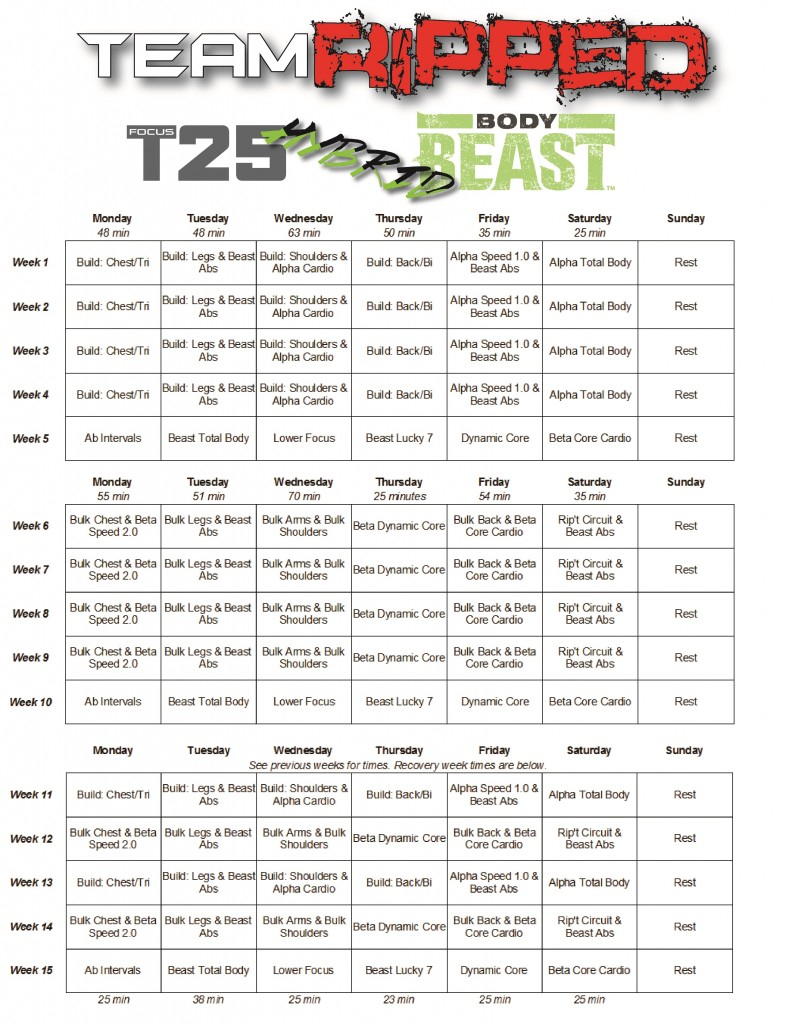 Body Beast Hybrids: P90X3 And T25  Teamripped with regard to 21 Day Fix Hybrid Calendar