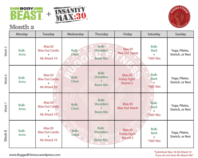 Body Beast + Insanity: Max 30 Hybrid Schedule | Body Beast within Body Beast Max 30 Hybrid