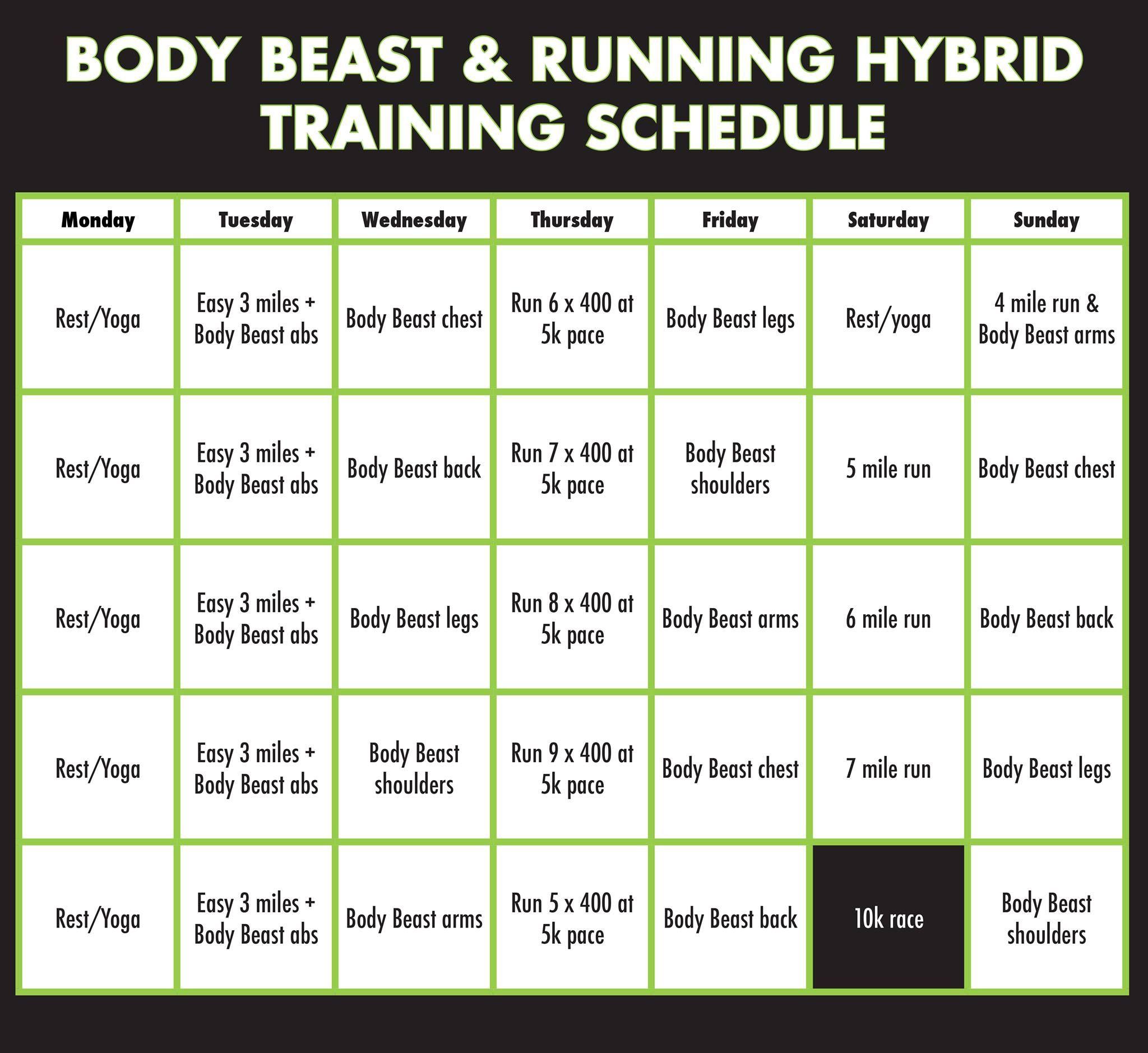 Body Beast + Running Hybrid Training Schedule | Body Beast throughout Body Beast Hybrid Calendar