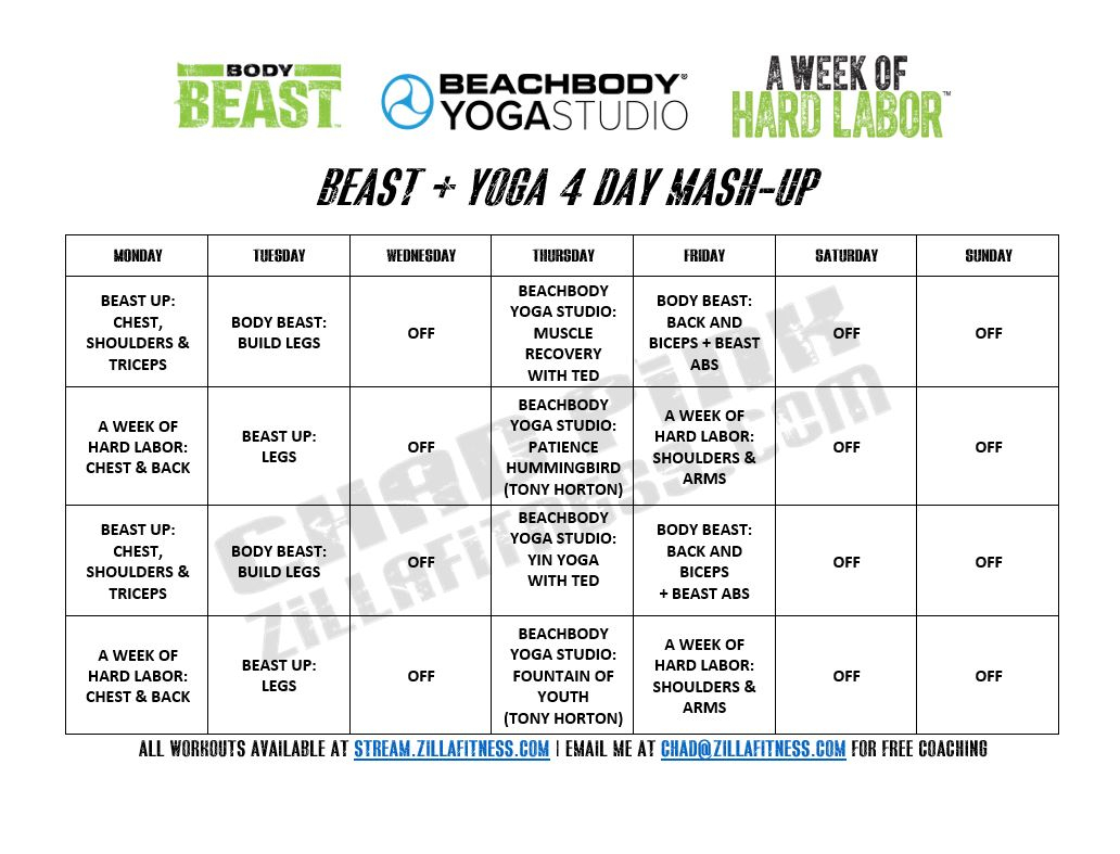 Body Beast Yoga Hybrid Schedule  By Chad Pink (Zillafitness) intended for Body Beast Hybrid