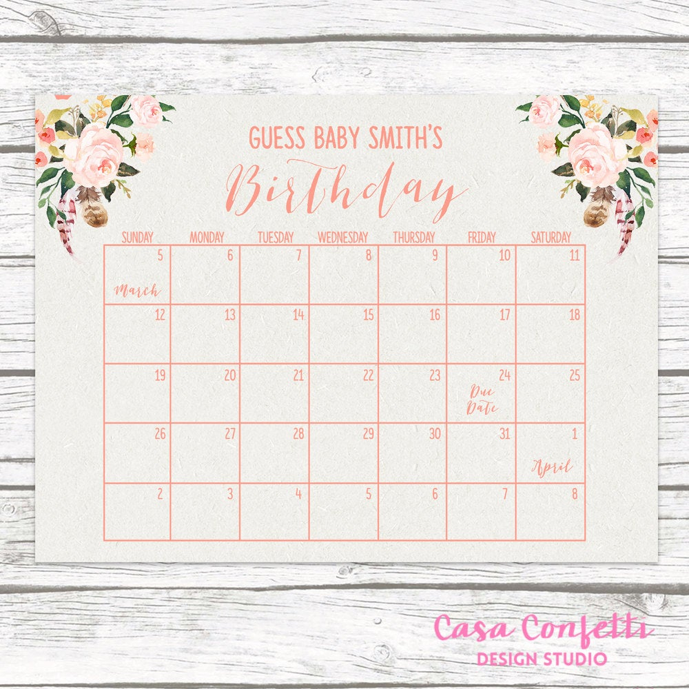 Boho Due Date Calendar, Guess Baby's Due Date, Baby intended for Free Printable Due Date Calendar