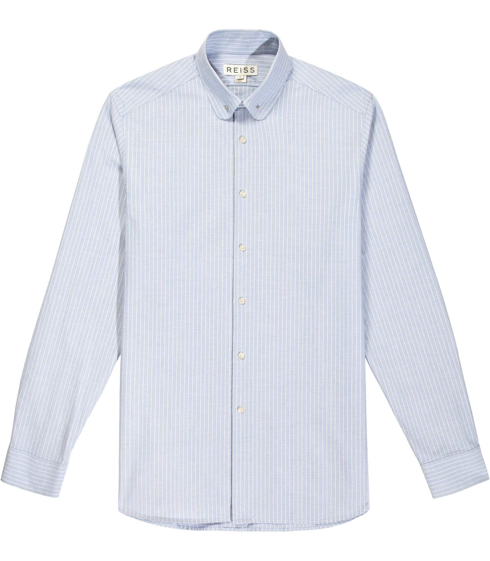 Boston Blue Wide Stripe Collar Bar Shirt  Reiss | Shirts in Cuffs And Collars Boston