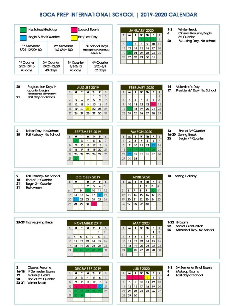Bpis Calendar  Boca Prep International School inside 2017 School Calendar South Africa